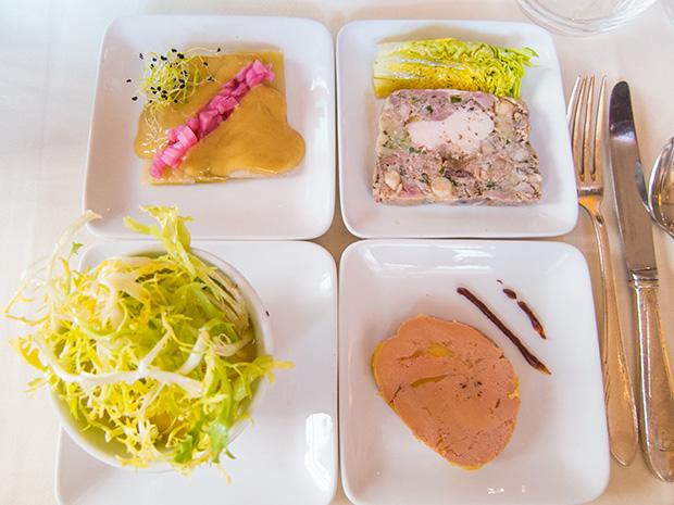 Drouant - Foie gras, oeuf mayonnaise, terrine de volaille et poireaux vinaigrette