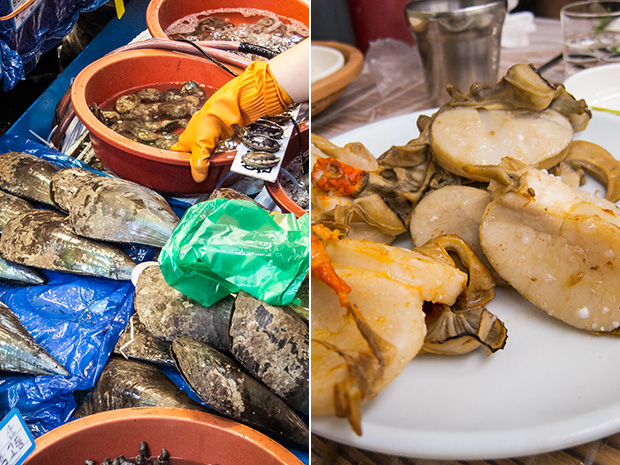 Marché aux poissons Noryangjin - Moules géantes