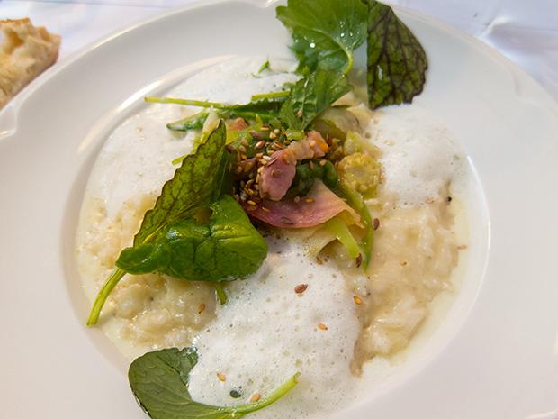 L'Epicerie - Risotto crémeux, petits légumes et lard fumé, et émulsion au sel vicking